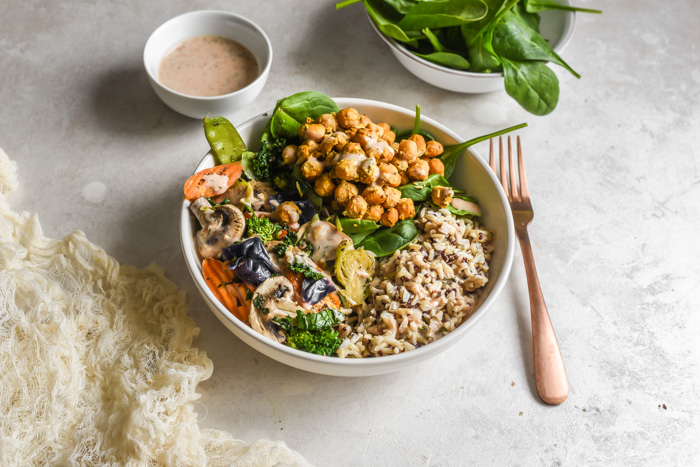 Veggie Grain Bowls with Crispy Parm Roasted Chickpeas & Aji Ranch (2)