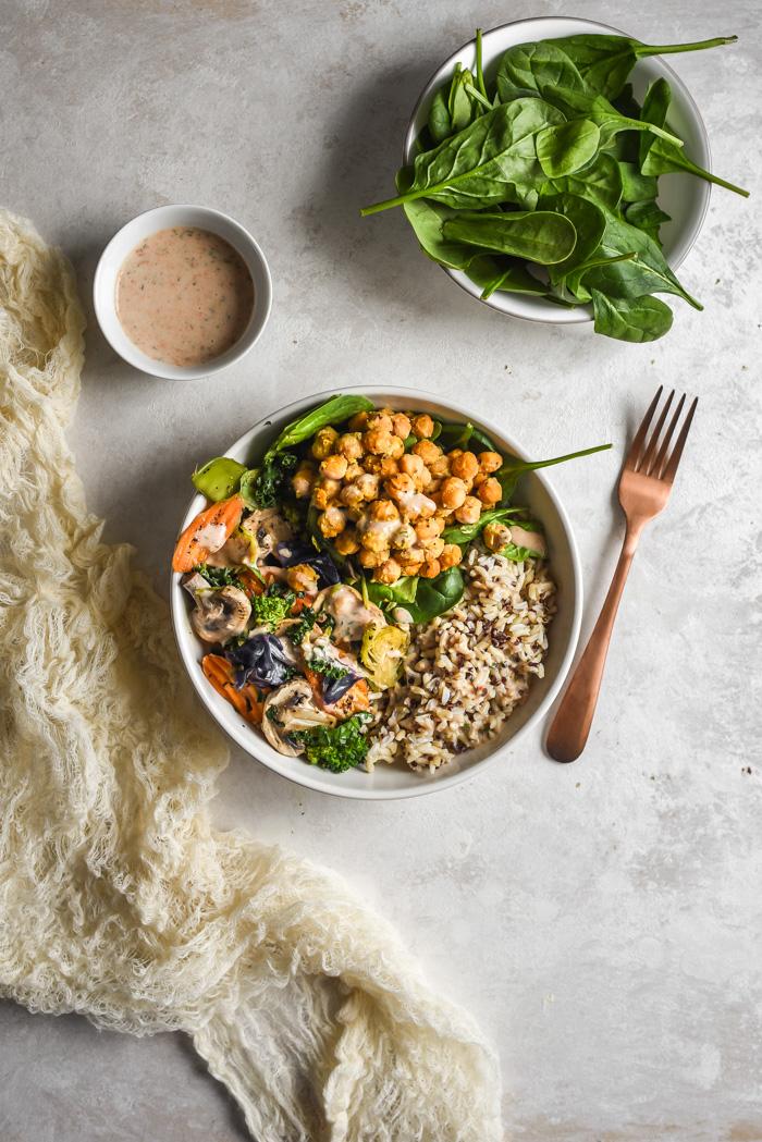Veggie Grain Bowls with Crispy Parm Roasted Chickpeas & Aji Ranch (3)