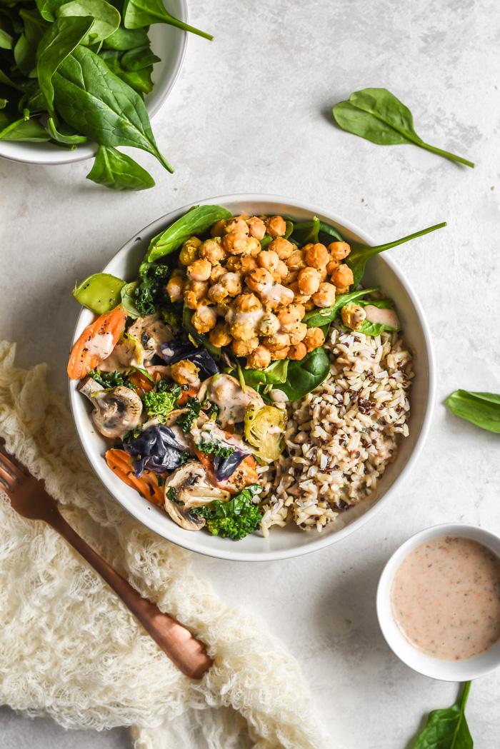 Veggie Grain Bowls with Crispy Parm Roasted Chickpeas & Aji Ranch (6)