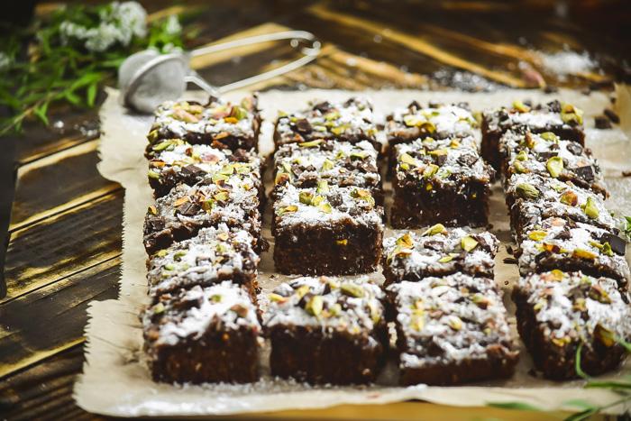 Chunky Dark Chocolate Coconut & Pistachio Brownies (3)