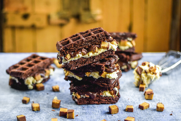 Waffled Brownie Hot Fudge Moose Track Ice Cream Sandwiches (2)