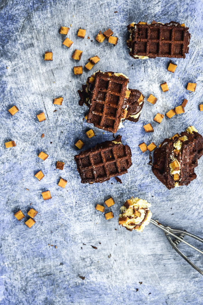 Waffled Brownie Hot Fudge Moose Track Ice Cream Sandwiches (4)