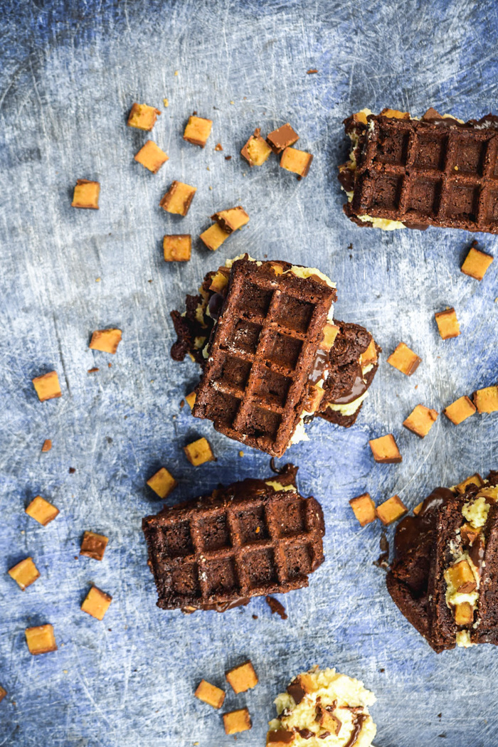 Waffled Brownie Hot Fudge Moose Track Ice Cream Sandwiches (5)