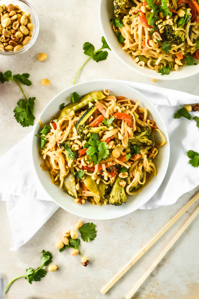 Creamy Peanut Pad Thai Noodles Vegan Gf Sincerely Tori
